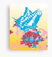 Butterflies are flying flowers Canvas Print