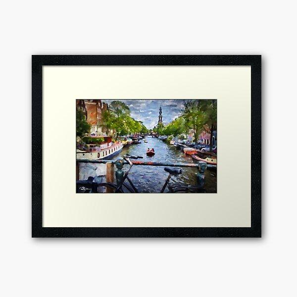 Amsterdam, Holland • 7/22/17 1:19pm • Steeple Canal Framed Art Print