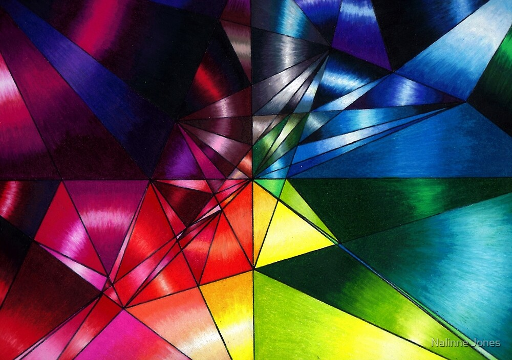 Shattered Rainbow Triangles optical art by Nalinne Jones
