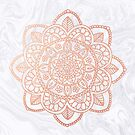 Rose Gold Mandala on White Marble by julieerindesign