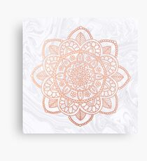 Rose Gold Mandala on White Marble Metal Print