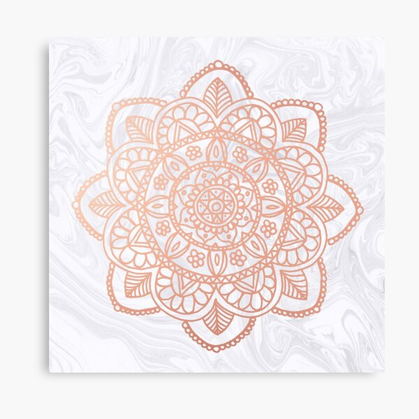 Rose Gold Mandala on White Marble Canvas Print