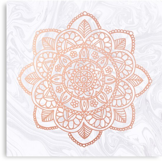 Quot Rose Gold Mandala On White Marble Quot Metal Print By