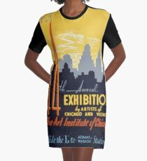 WPA United States Government Work Project Administration Poster 0267 44th Annual Exhibition by Artitsts of Chicago and Vicinity T-Shirt Kleid