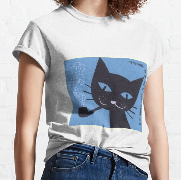 Vintage Polish Matchbox Label Cat Smoking Pipe Classic T-Shirt