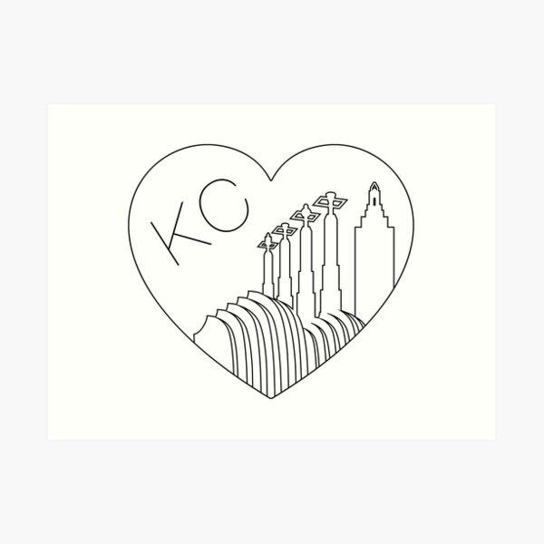 Kansas City - Minimalist Line Art Skyline Heart Art Print