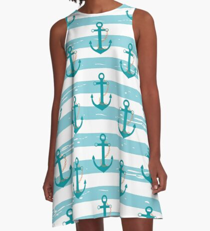 AFE Nautical Anchor Pattern A-Line Dress