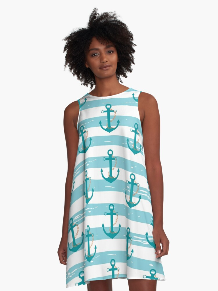 AFE Nautical Anchor Pattern A-Line Dress Front
