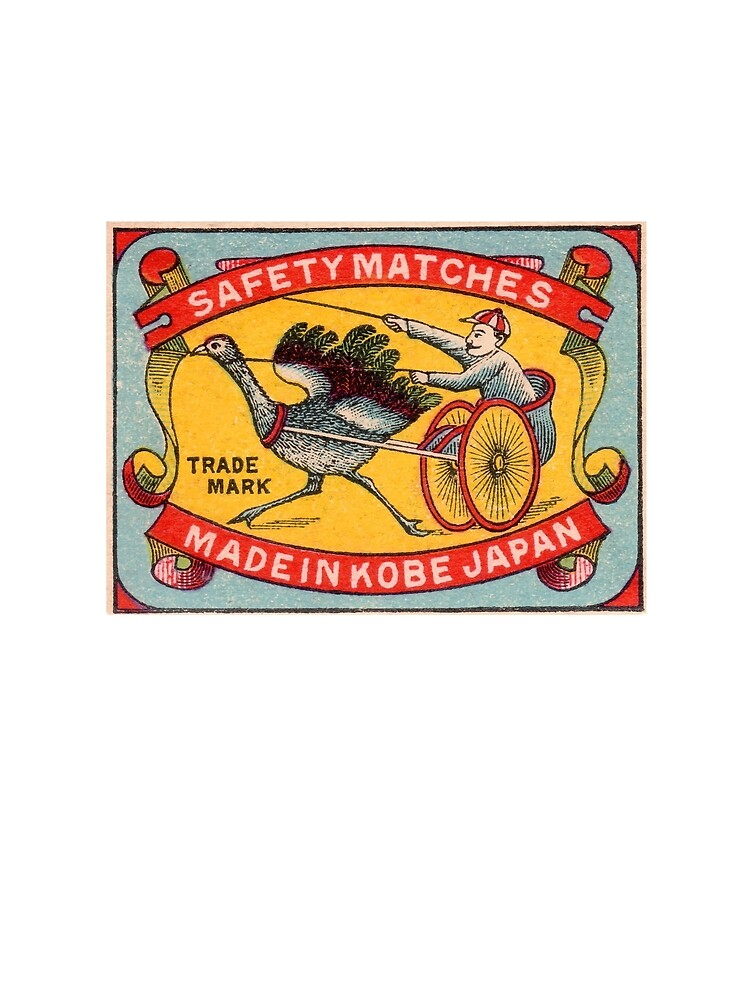 Antique Matchbox Label Ostrich Harness Racing Kobe Japan by retrographics