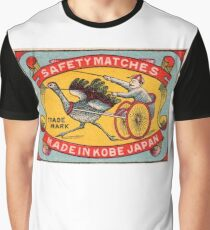 Antique Matchbox Label Ostrich Harness Racing Kobe Japan Graphic T-Shirt