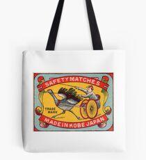 Antique Matchbox Label Ostrich Harness Racing Kobe Japan Tote Bag