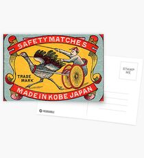 Antique Matchbox Label Ostrich Harness Racing Kobe Japan Postcards
