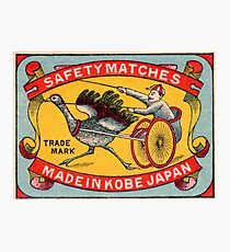 Antique Matchbox Label Ostrich Harness Racing Kobe Japan Photographic Print