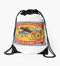 Antique Matchbox Label Ostrich Harness Racing Kobe Japan Drawstring Bag
