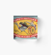 Antique Matchbox Label Ostrich Harness Racing Kobe Japan Acrylic Block