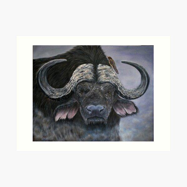 """Danger in the Dust"" - Cape Buffalo oil painting Art Print"