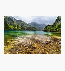 Lake in mountains, in a rainy day Photographic Print