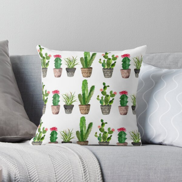 Watercolour Potted Succulents Pattern Throw Pillow