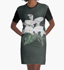 Painted Cream Calla Lilies Vector Graphic T-Shirt Dress