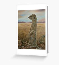 """""""Meerkat Sentry"""" - Oil Painting Greeting Card"""