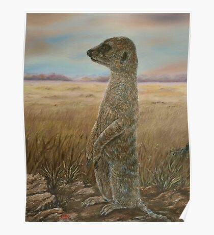 """Meerkat Sentry"" - Oil Painting Poster"