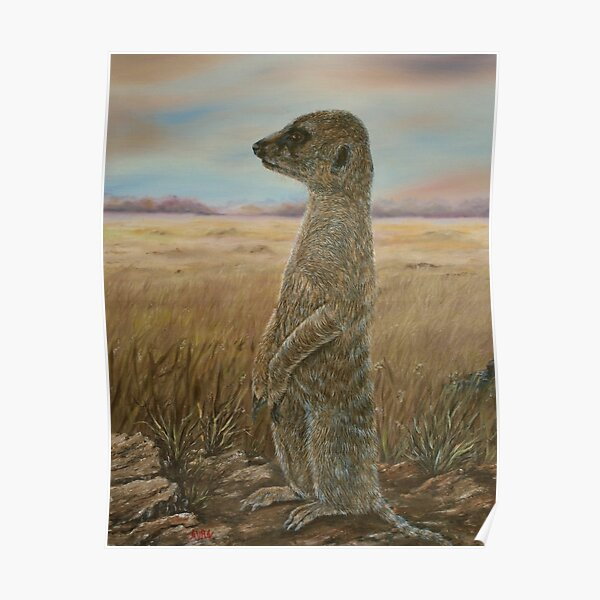 """Meerkat Sentry"" - Oil Painting Poster"