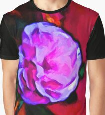 Pink Flower and a Green Leaf Graphic T-Shirt