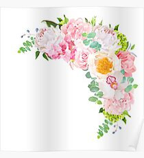 Stylish floral crescent shaped vector design frame with wild rose Poster
