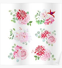 Small summer bouquets of pink rose, white peony Poster