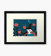 A Girl And Flowers Framed Print