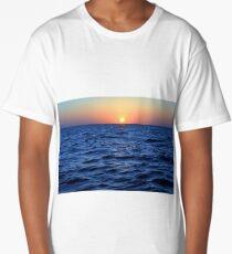 The blue sea at sunset Long T-Shirt