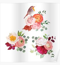 Peachy rose, white and burgundy red peony, orange ranunculus Poster