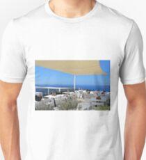 Elegant restaurant by the sea in Santorini, Greece Unisex T-Shirt