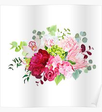Summer mixed bouquets of peony, pink hydrangea, protea Poster
