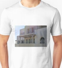 Simple white building with blue shutters in Santorini, Greece T-Shirt