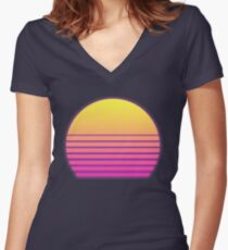 Synthwave Sun Women's Fitted V-Neck T-Shirt