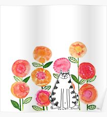 Cat in the flowers Poster