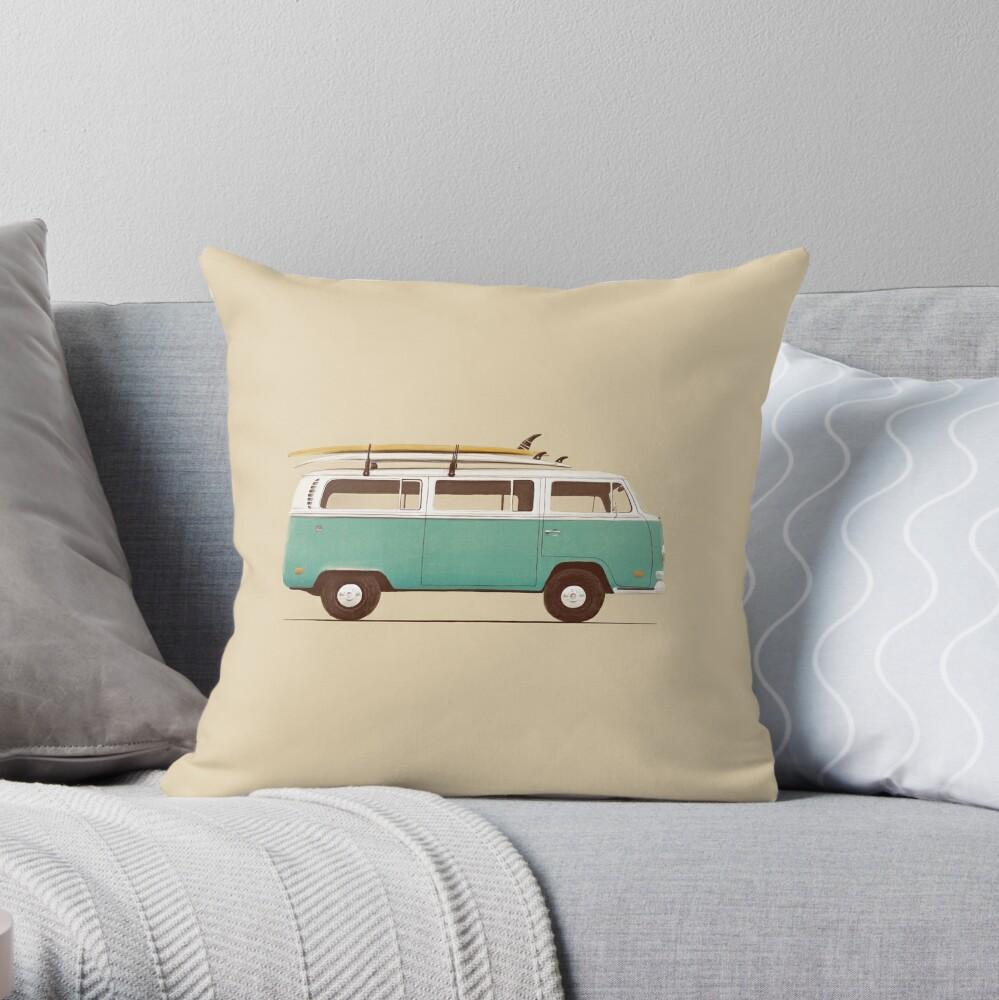 Blue Van Throw Pillow