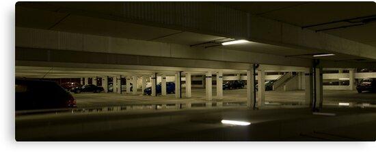 Underground Car Parking Facility at Night by Bob Davies