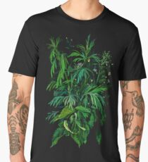 """Green & Black"", summer greenery, floral art, pastel drawing Men's Premium T-Shirt"
