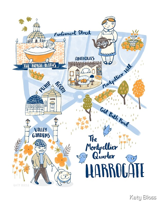 Illustrated Map of Harrogate North Yorkshire by Katy Bloss Posters