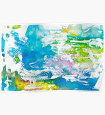 Algae and Aqua - Abstract Painting  Poster