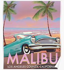 Malibu, Los Angeles, California travel poster Poster