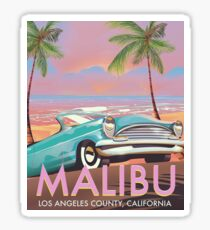 Malibu, Los Angeles, California travel poster Vintage travel poster Sticker