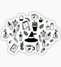 Modern Witch - White, Green & Black Sticker