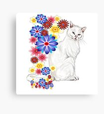 White Garden Kitty Canvas Print
