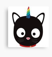 Unicorn Cat with rainbows U0ml8 Canvas Print