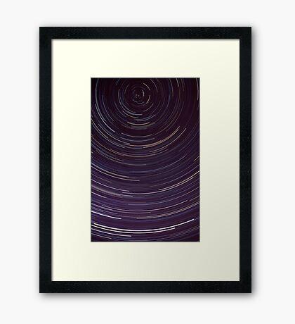 Star trails around south celestial pole Framed Print