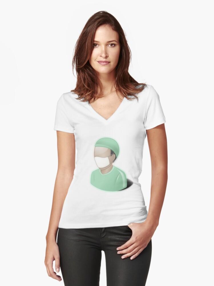 Camisetas de cuello en V entalladas para mujer «Cirujano, matorrales ...