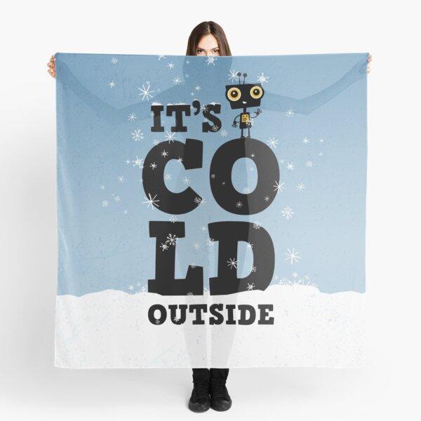 Kleiner Roboter im Winter mit Typografie – It's cold outside Tuch